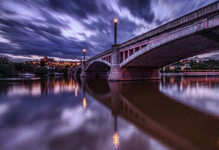praga rassvet ogni reka rivers bridge city lights water earth clouds sky trees wallpaper