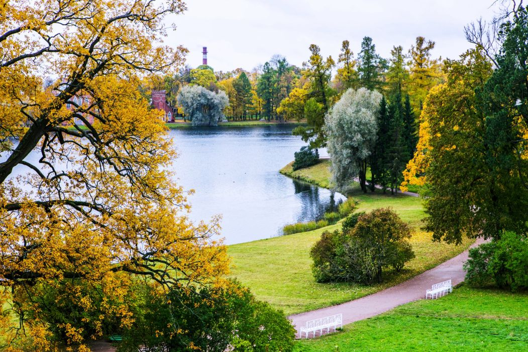 sankt peterburg pite gardens parks trees green grass lakes chairs city town landscapes nature earth wallpaper
