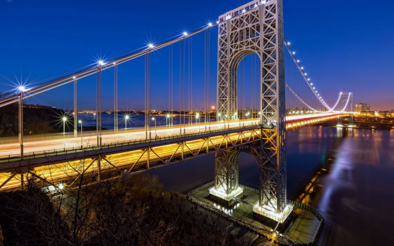 Bridges Tunnels Port Authority New Jersey hotels Lights Sea sky skyscrapers technology boats buildings City Country development Evening Globalization blue wallpaper