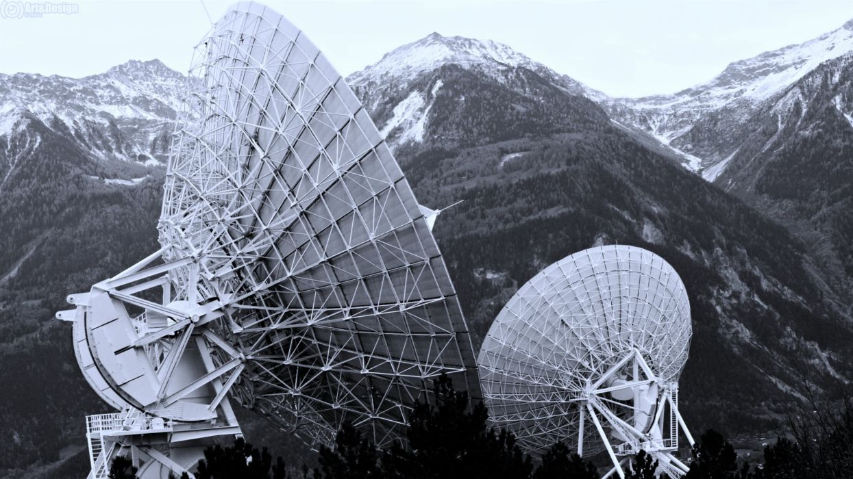 mountains dish radar Technology landscapes forest nature earth wallpaper