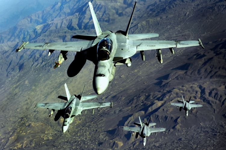 fa-18 hornet istrebiteli Fighter attack bombing military aircraft planes mountains landscapes nature sky earth flight wallpaper