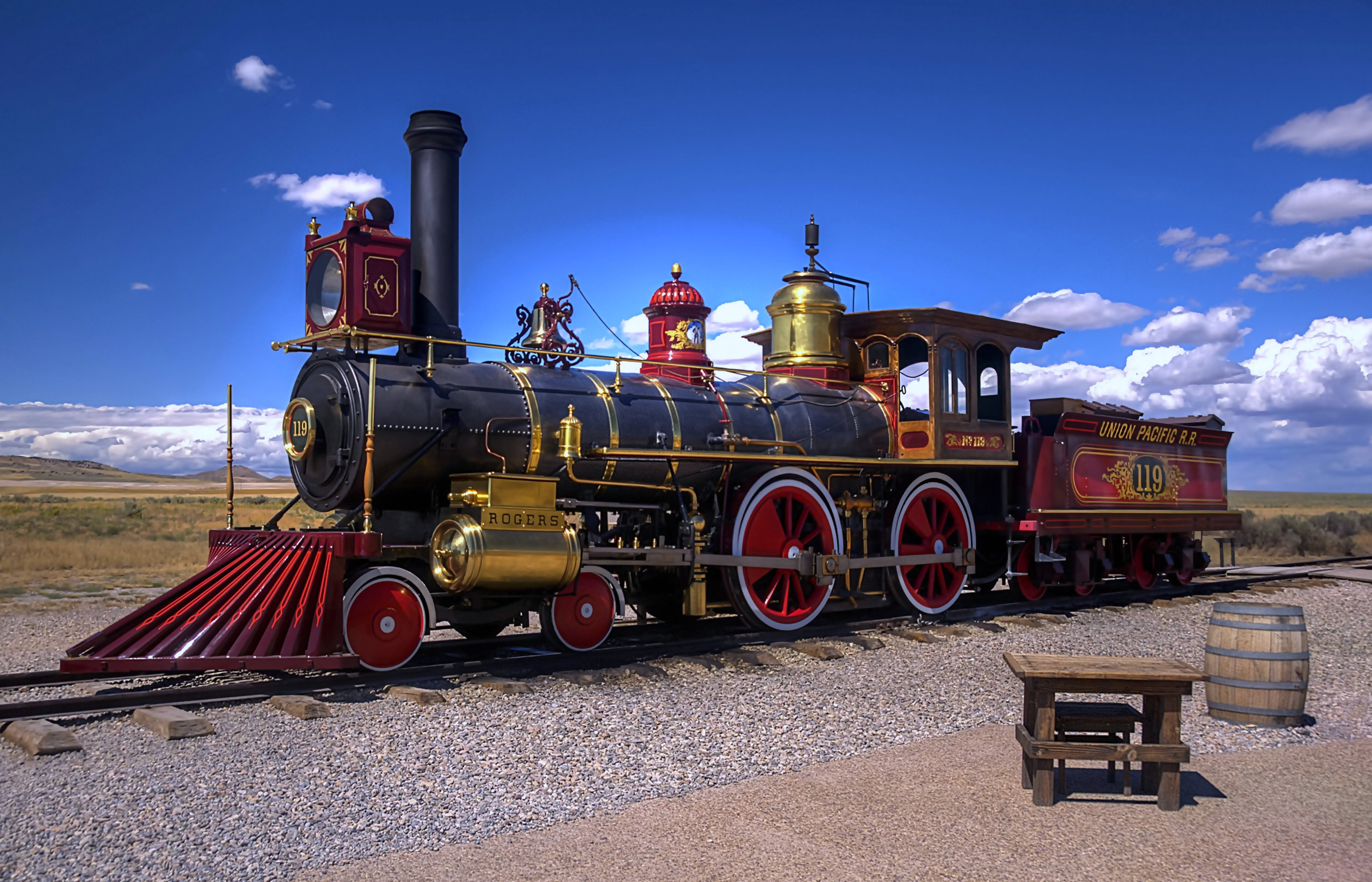 Trains Old Classic Railroad Landscapes Sky Clouds Sunny Chair Wallpaper 3840x2468 651237