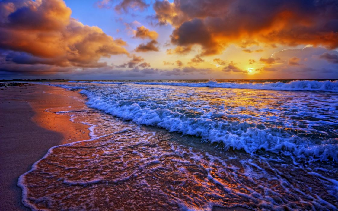 Beaches sea ocean waves sunset sky clouds landscapes ...