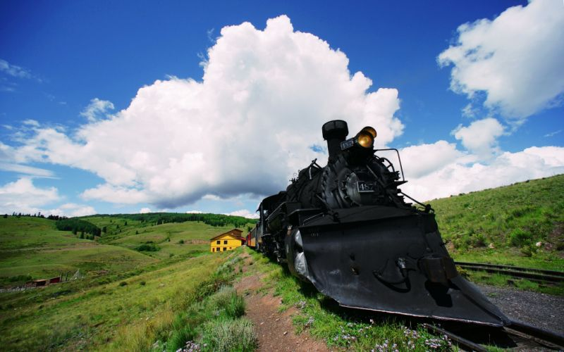 clouds landscapes old railroad sky Sunny trains hills grass sunny motors speed green countryside house wallpaper