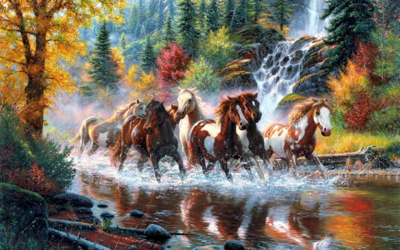 landscape nature tree forest woods river horse artwork painting waterfall autumn country wester native american indian wallpaper