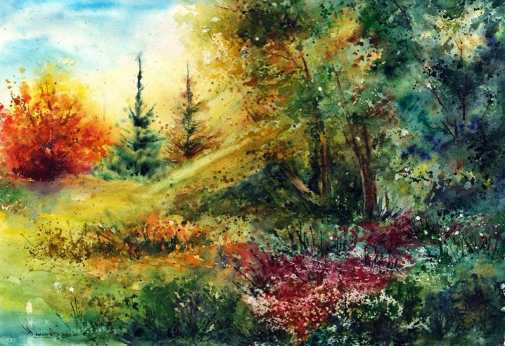 landscape nature tree forest woods artwork painting spring garden wallpaper