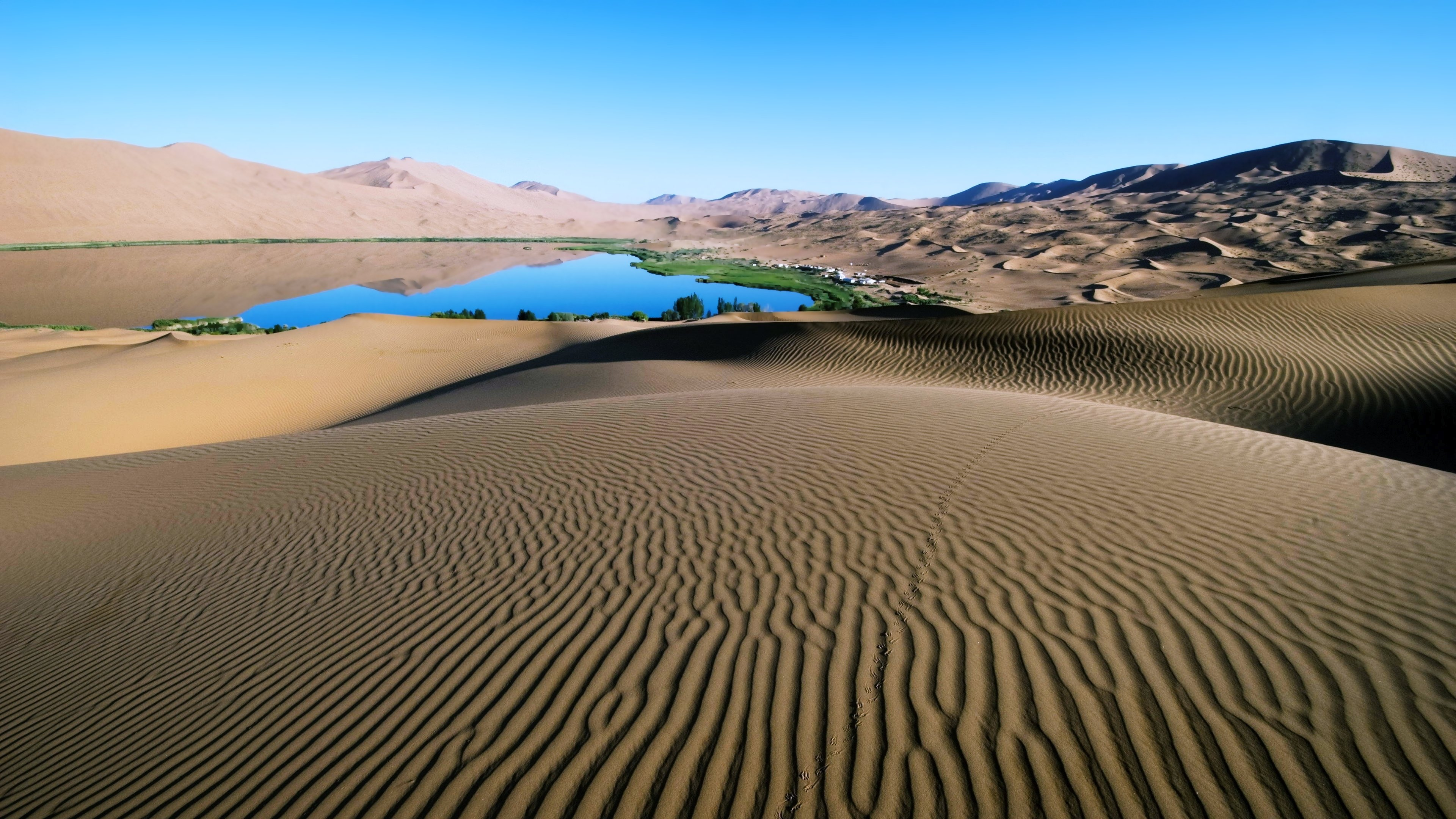 Desert lakes sand sky sunny landscapes africa oasis water nature earth wallpaper | 3840x2160 ...