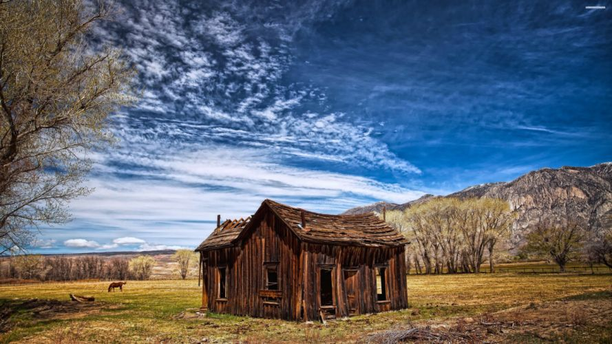 house summer trees jungle forest countryside huts landscapes nature earth hills sky clouds blue horse farms wallpaper