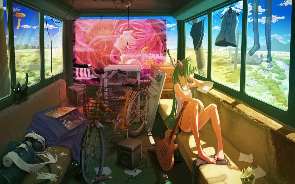 hatsune miku girl clothes vocaloid Biking guitar wallpaper
