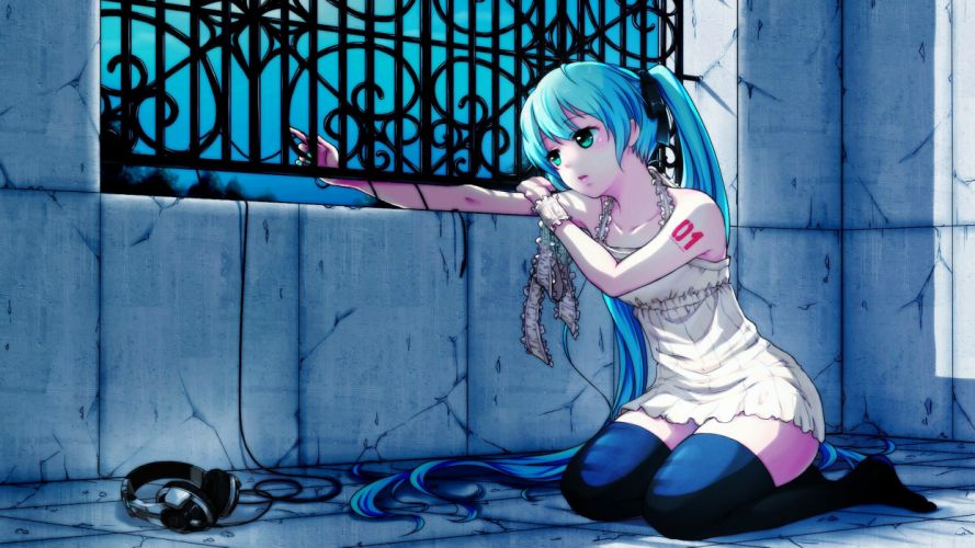 headphones stockings hatsune miku vocaloid grill evening window wallpaper