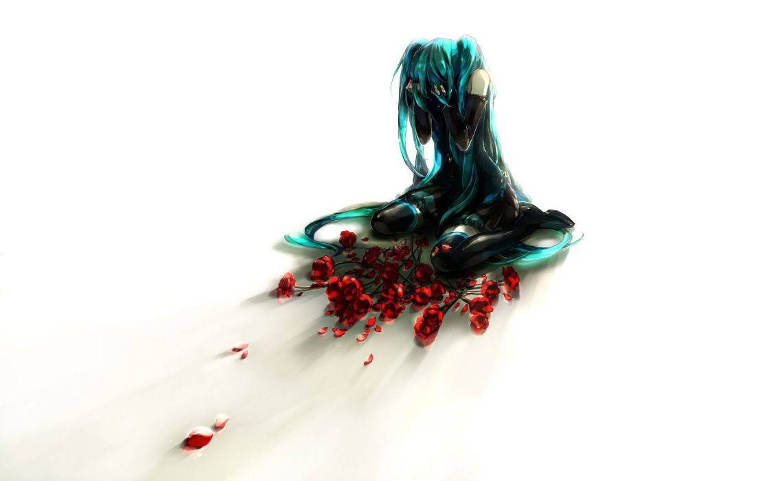 vocaloid hatsune miku girl cry rose red flower anime wallpaper