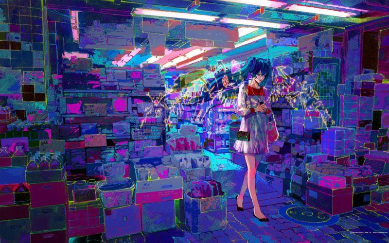 vocaloid hatsune miku shop street city art wallpaper
