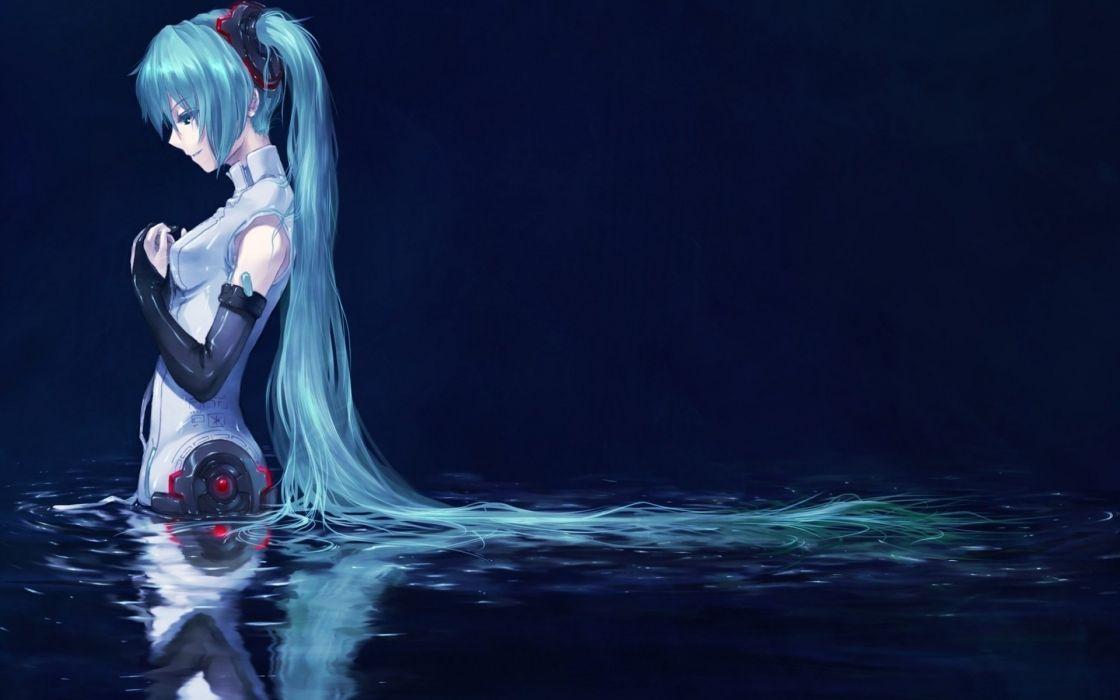 water Vocaloid green hair hatsune miku mecanic wallpaper