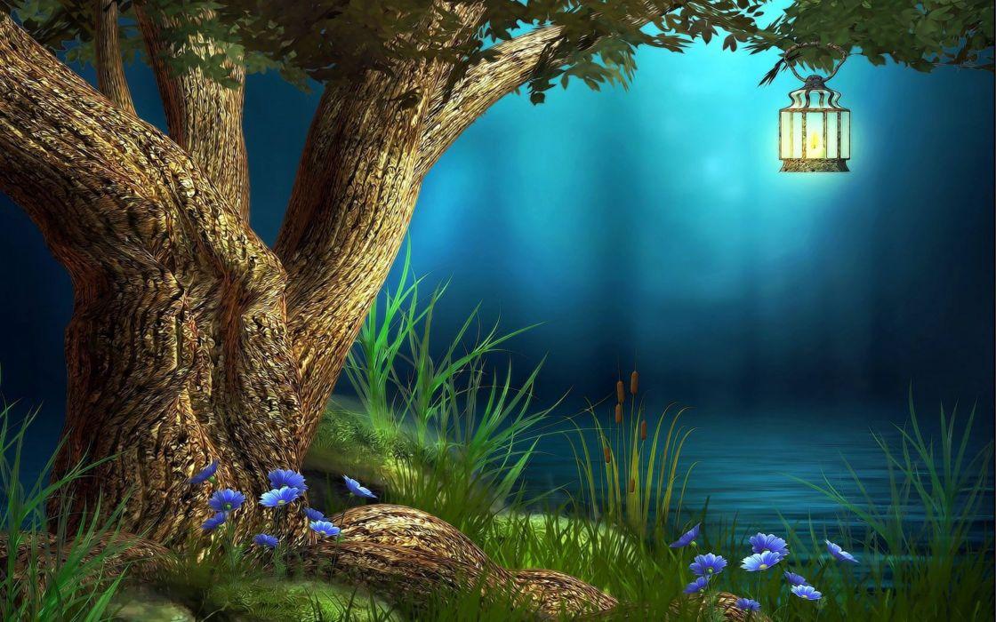 landscape nature tree forest woods fantasy artwork lamp wallpaper