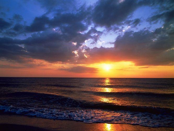 beach ocean nsea sunset wallpaper
