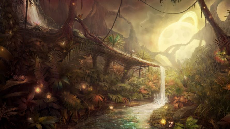 artwork fantasy magical art forest tree landscape nature waterfall wallpaper