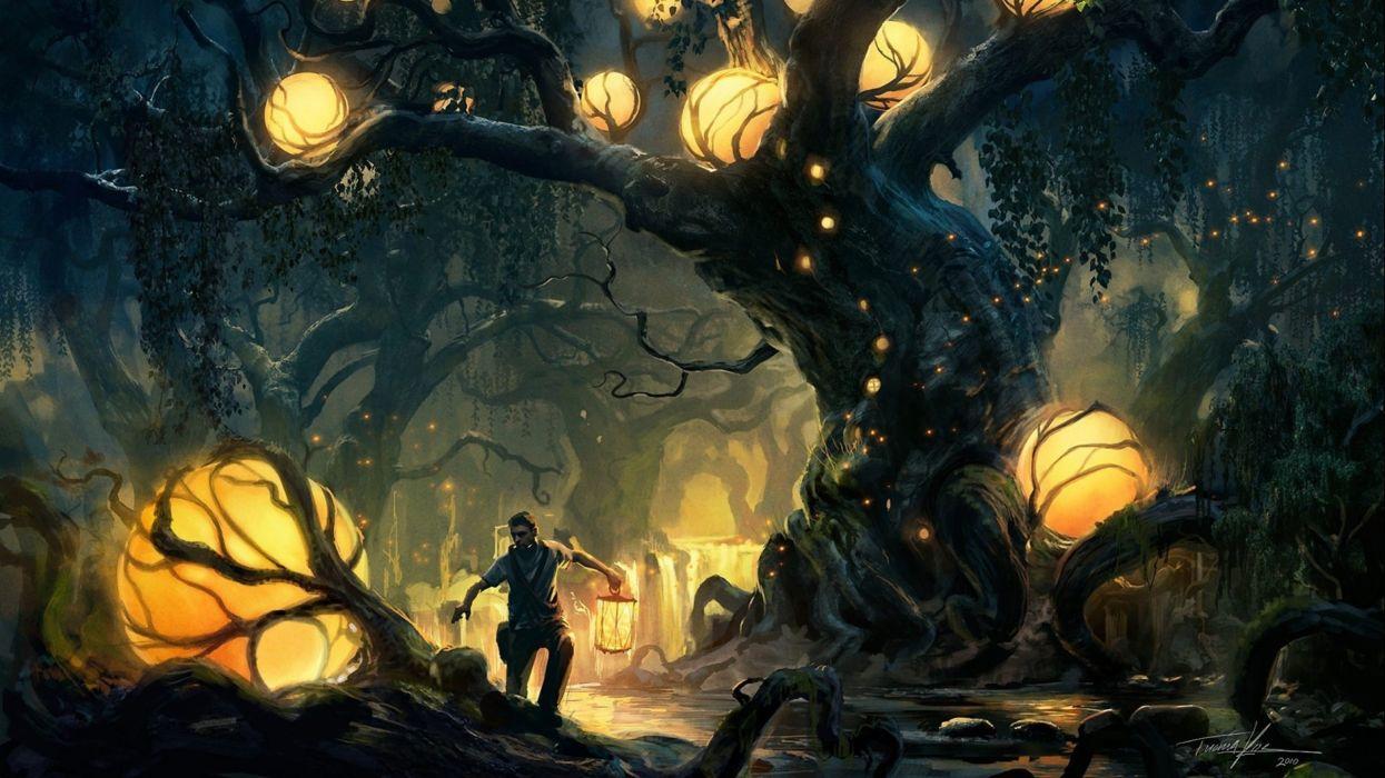 artwork fantasy magical art forest tree landscape nature magic wallpaper