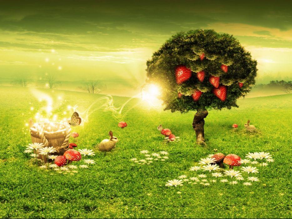 artwork fantasy magical art forest tree landscape nature rabbit magic wallpaper