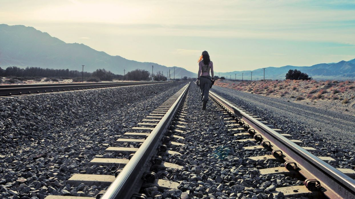 Train railroad tracks locomotive engine