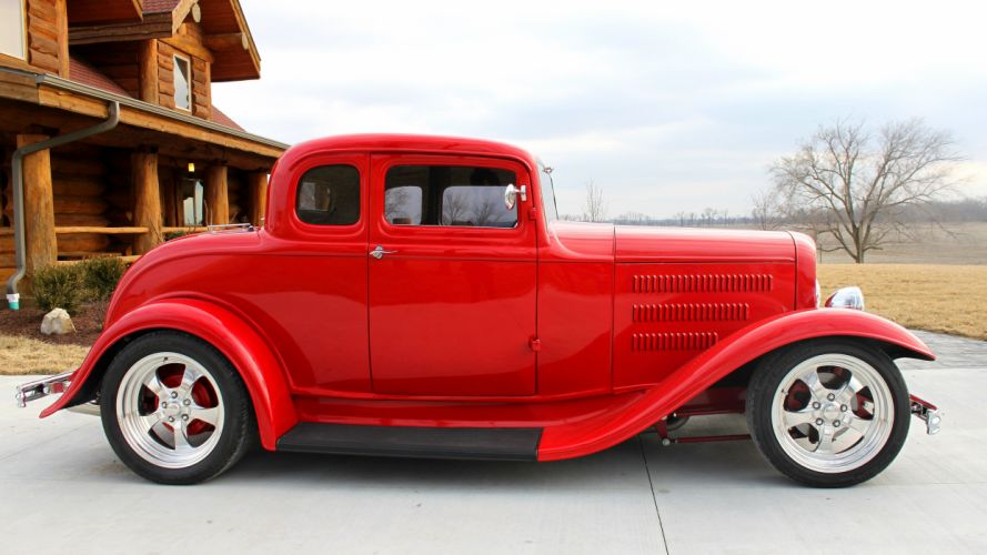 1932 Ford 5 Window Coupe Streetrod Hotrod Street Hot Rod Red USA 4200x2360-01 wallpaper