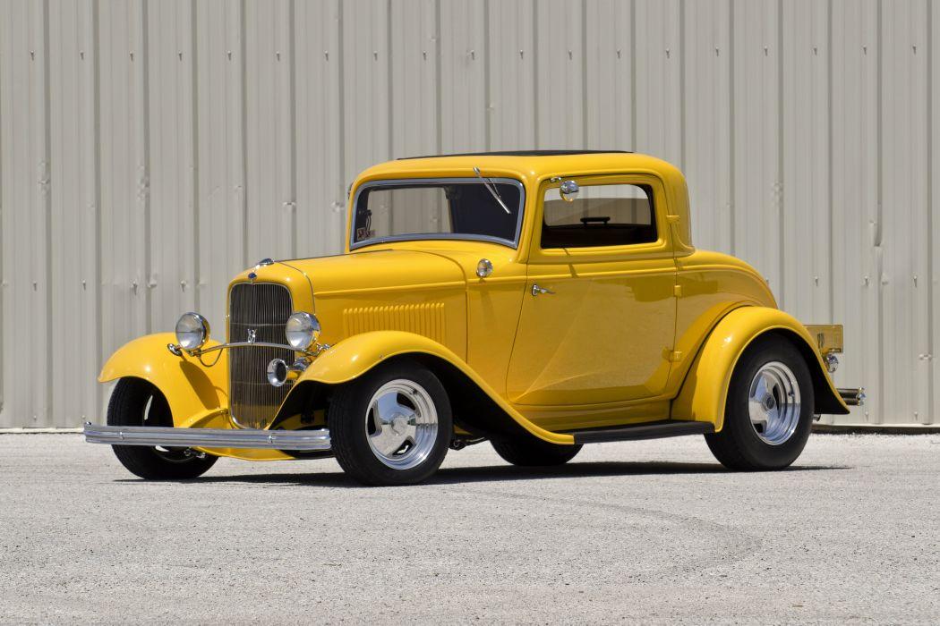 1932 Ford 3Window Coupe Streetrod Hotrod Street Rod Hot Yellow USA 4500x3000-01 wallpaper