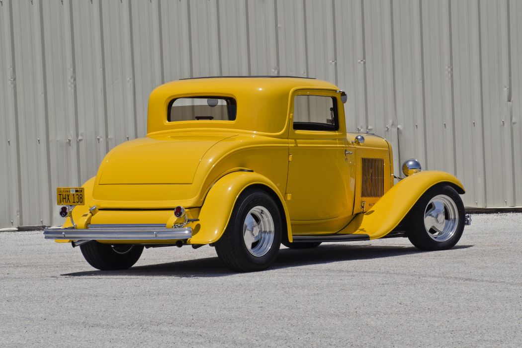 1932 Ford 3Window Coupe Streetrod Hotrod Street Rod Hot Yellow USA 4500x3000-02 wallpaper