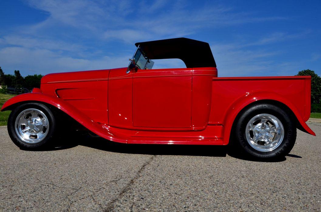 1932 Ford Pickup Roadster Street Rod Hot Streetrod Hotrod Red USA 4200x2780-02 wallpaper
