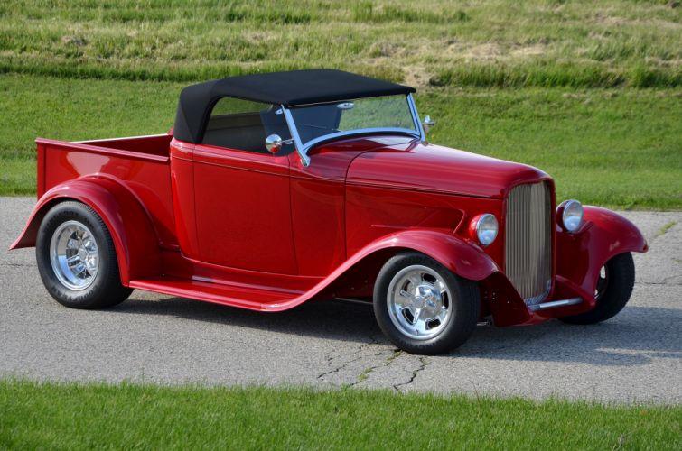 1932 Ford Pickup Roadster Street Rod Hot Streetrod Hotrod Red USA 4200x2780-03 wallpaper