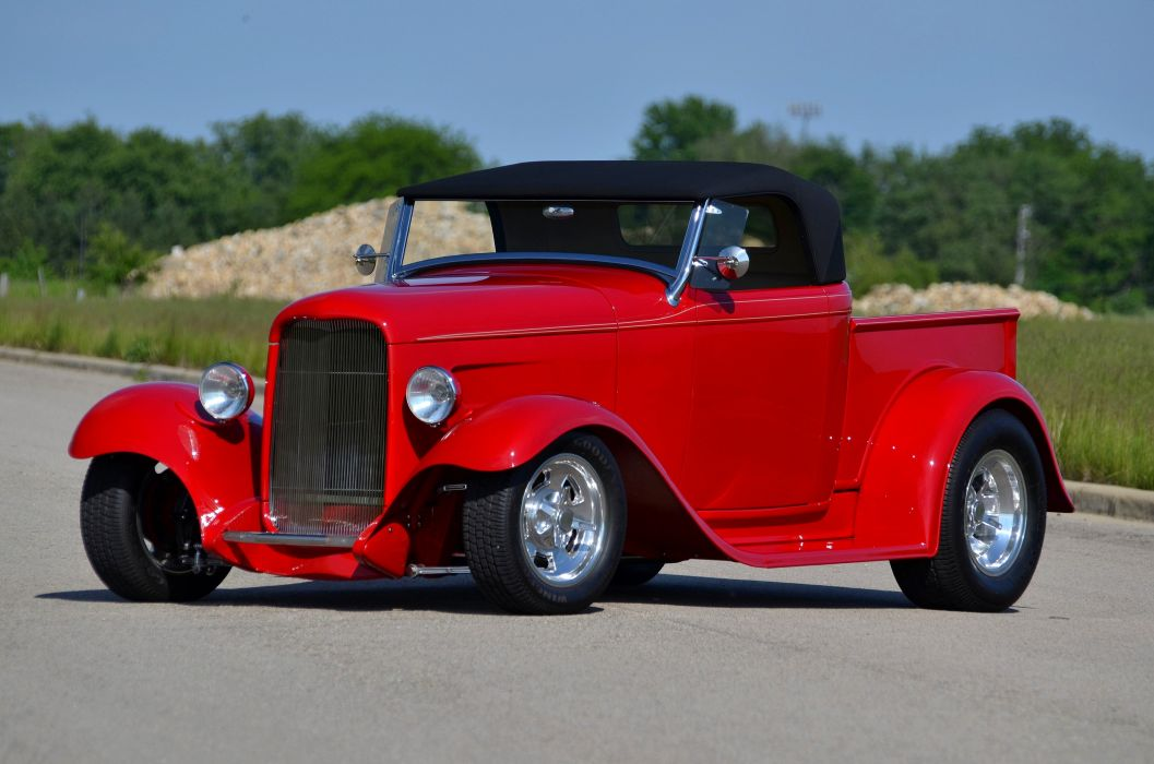 1932 Ford Pickup Roadster Street Rod Hot Streetrod Hotrod Red USA 4200x2780-06 wallpaper