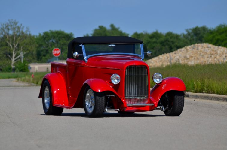 1932 Ford Pickup Roadster Street Rod Hot Streetrod Hotrod Red USA 4200x2780-09 wallpaper