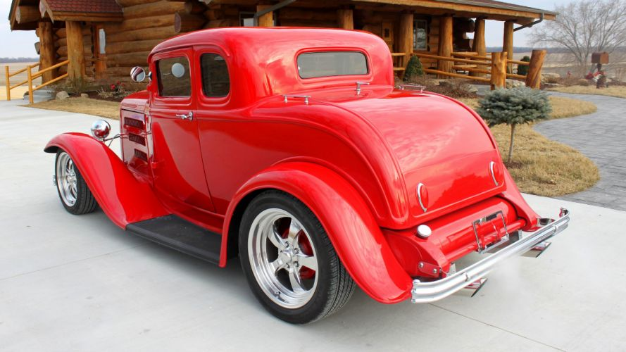 1932 Ford 5 Window Coupe Streetrod Hotrod Street Hot Rod Red USA 4200x2360-02 wallpaper