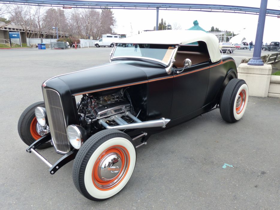 1932 Ford Roadster Hiboy Hotrod Hot Rod Old School Black USA 4000x3000 wallpaper