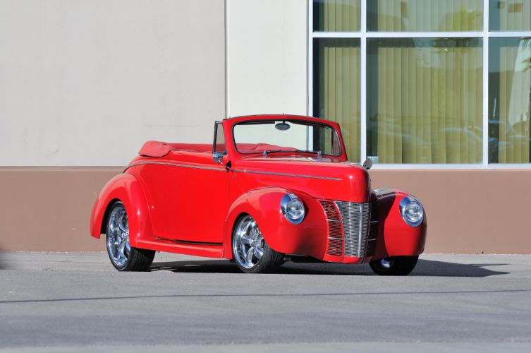 1940 Ford Convertible Streetrod Street Rod Hot Red USA 4288x2848 wallpaper