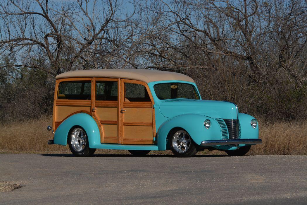 1940 Ford Deluxe Woody Wagon Hotrod Streetrod Hot Rod Street USA 6000x4000-02 wallpaper