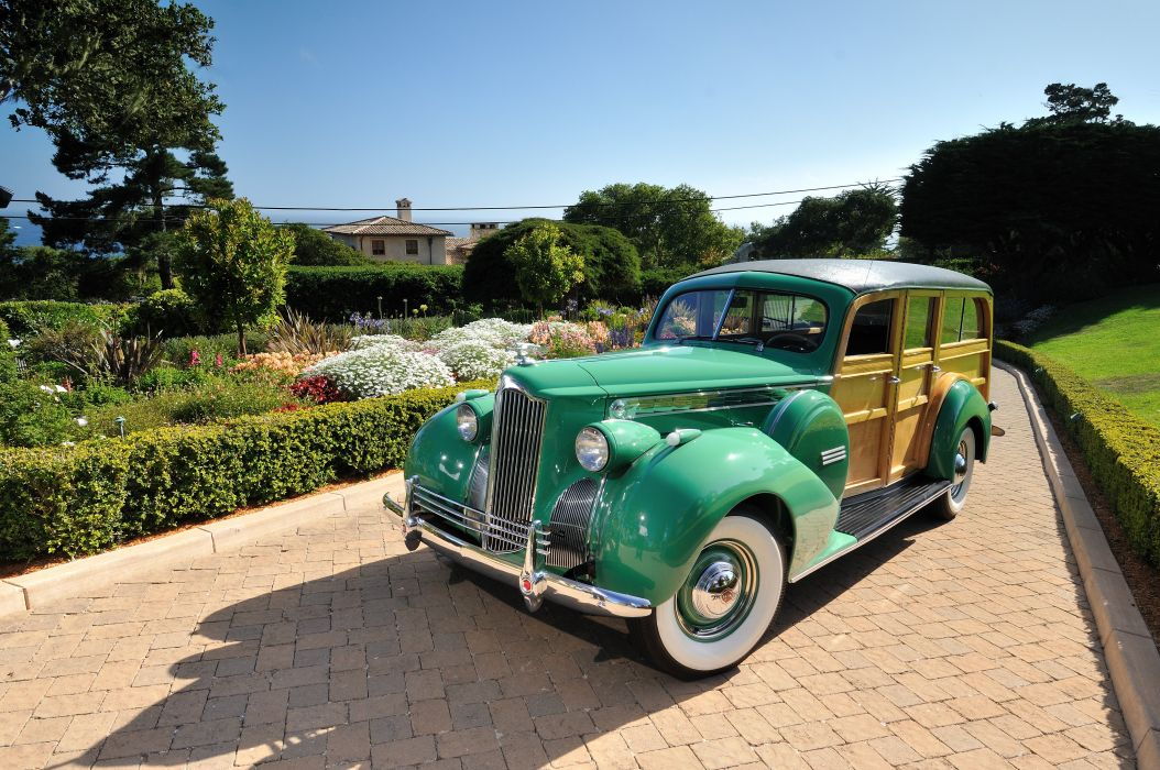 1940 Packard Eight Wagon Wood Classic Old Vintage USA 4288x2848-05 wallpaper