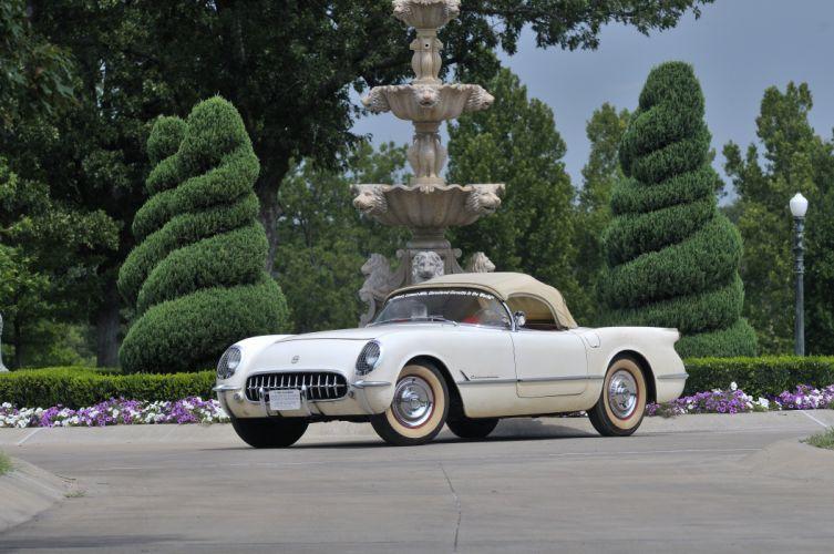 1954 Corvette Roadster Classic Old Retro White USA 4200x2790-01 wallpaper