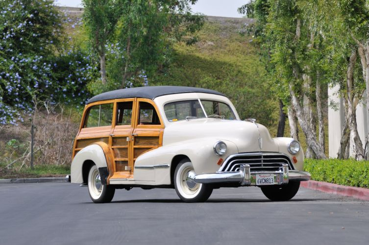 1947 Oldsmobile Woody Wagon Classic Old Vintage USA 4288x2848-04 wallpaper