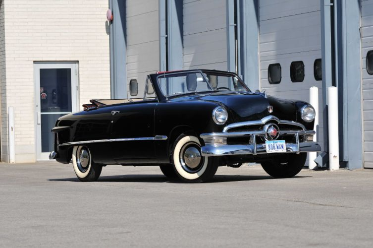 1950 Ford Custom Convertible Black Classic Old Vintage USA 4288x2848-01 wallpaper