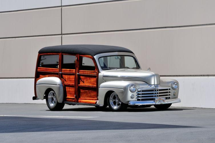 1948 Ford Woody Wagon Streetrod Hotrod Street Rod Hot Silver USA 4288x2848-01 wallpaper