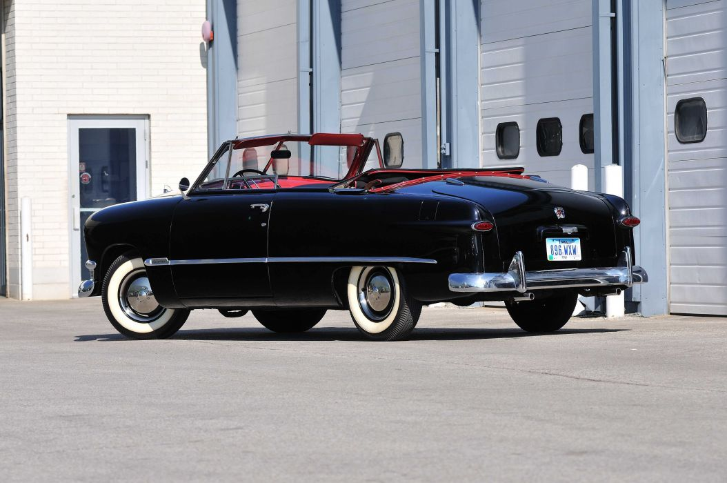 1950 Ford Custom Convertible Black Classic Old Vintage USA 4288x2848-04 wallpaper