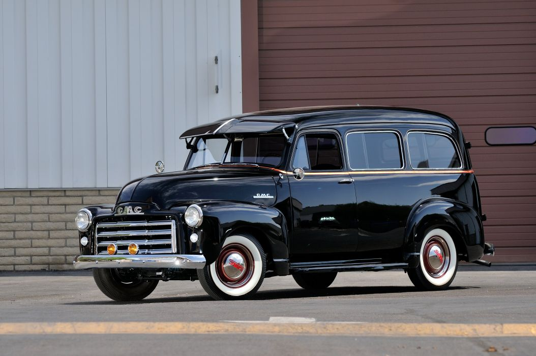 1952 GMC Wagon 2 Door Black Classic Old Vintage USA 4288x2848-02 wallpaper