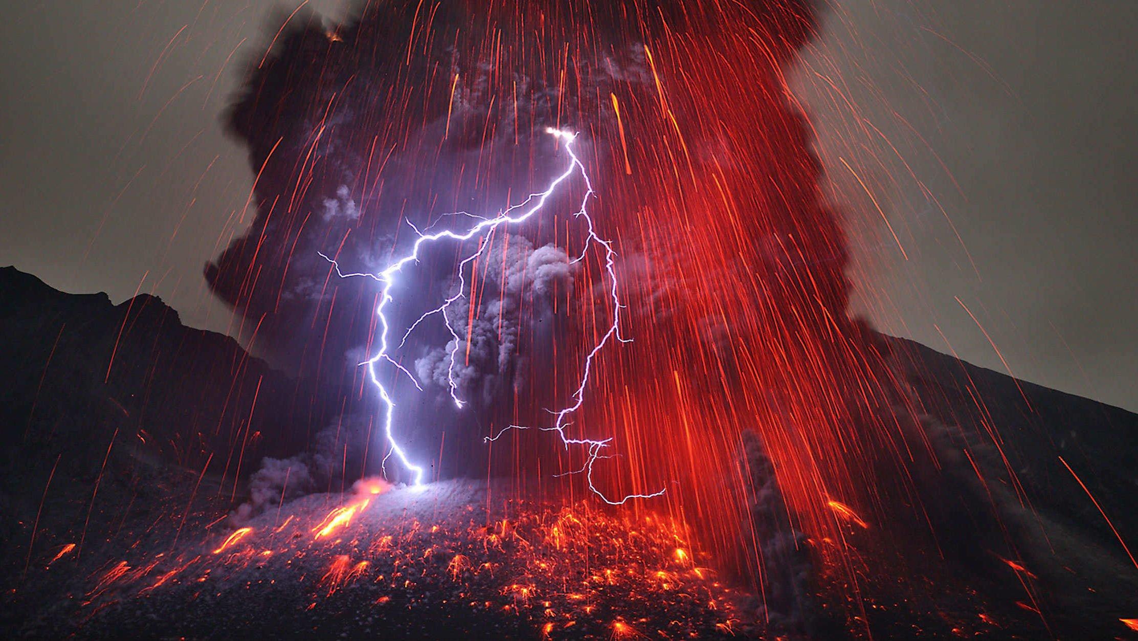 Volcano mountain lava nature landscape mountains fire ...