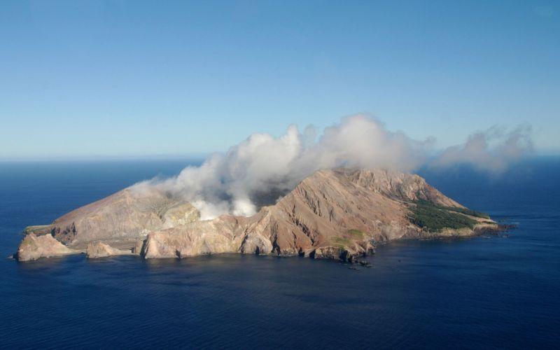 volcano mountain lava nature landscape mountains fire island ocean sea wallpaper