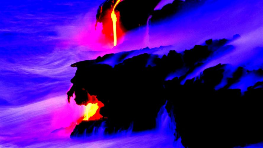 volcano mountain lava nature landscape mountains fire psychedelic wallpaper