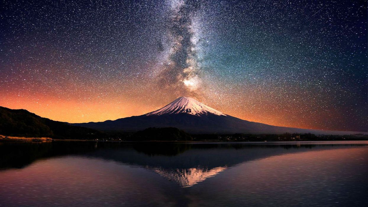 volcano mountain lake sky stars reflection lava nature landscape mountains fire wallpaper