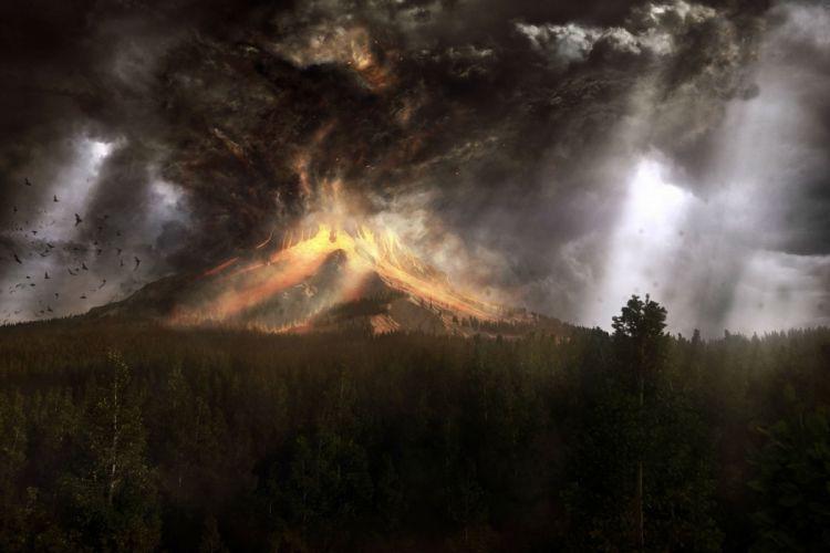 volcano mountain lava nature landscape mountains fire artwork wallpaper