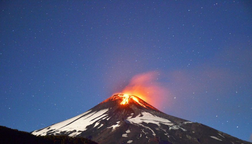 volcano mountain lava nature landscape mountains fire stars wallpaper
