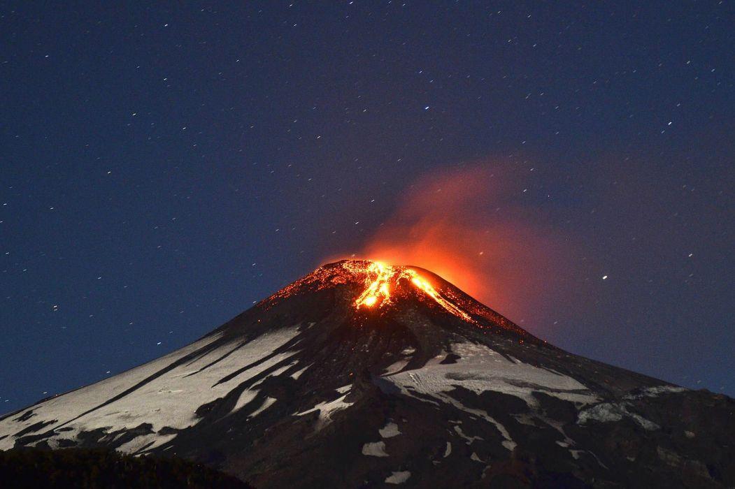 volcano mountain lava nature landscape mountains fire stars sky wallpaper