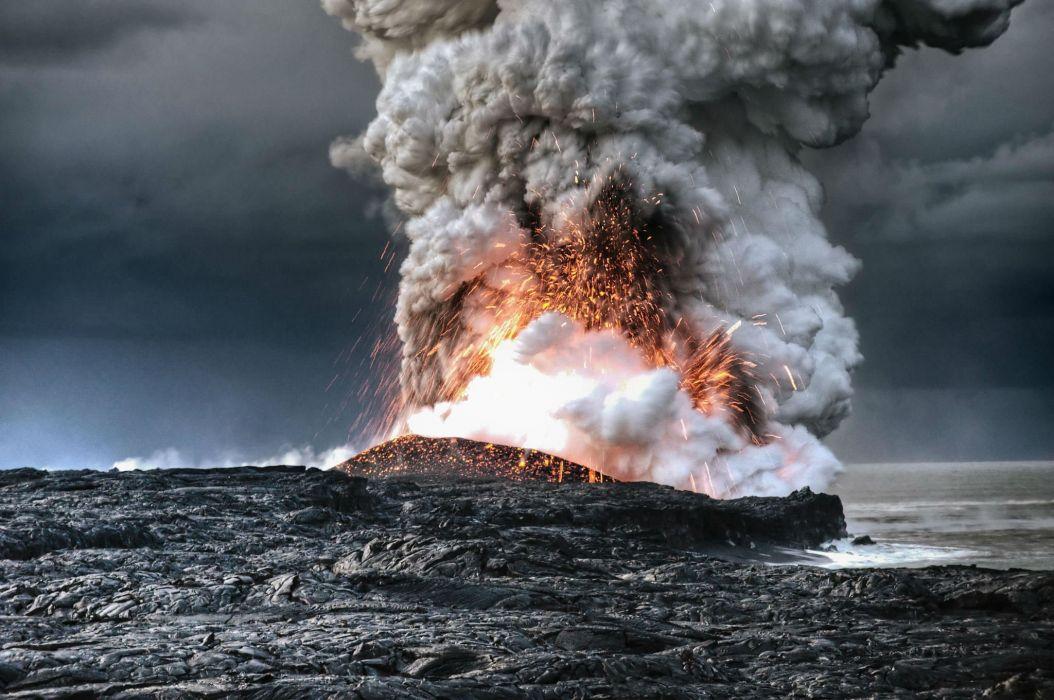volcano mountain lava nature landscape mountains fire ocean sea wallpaper