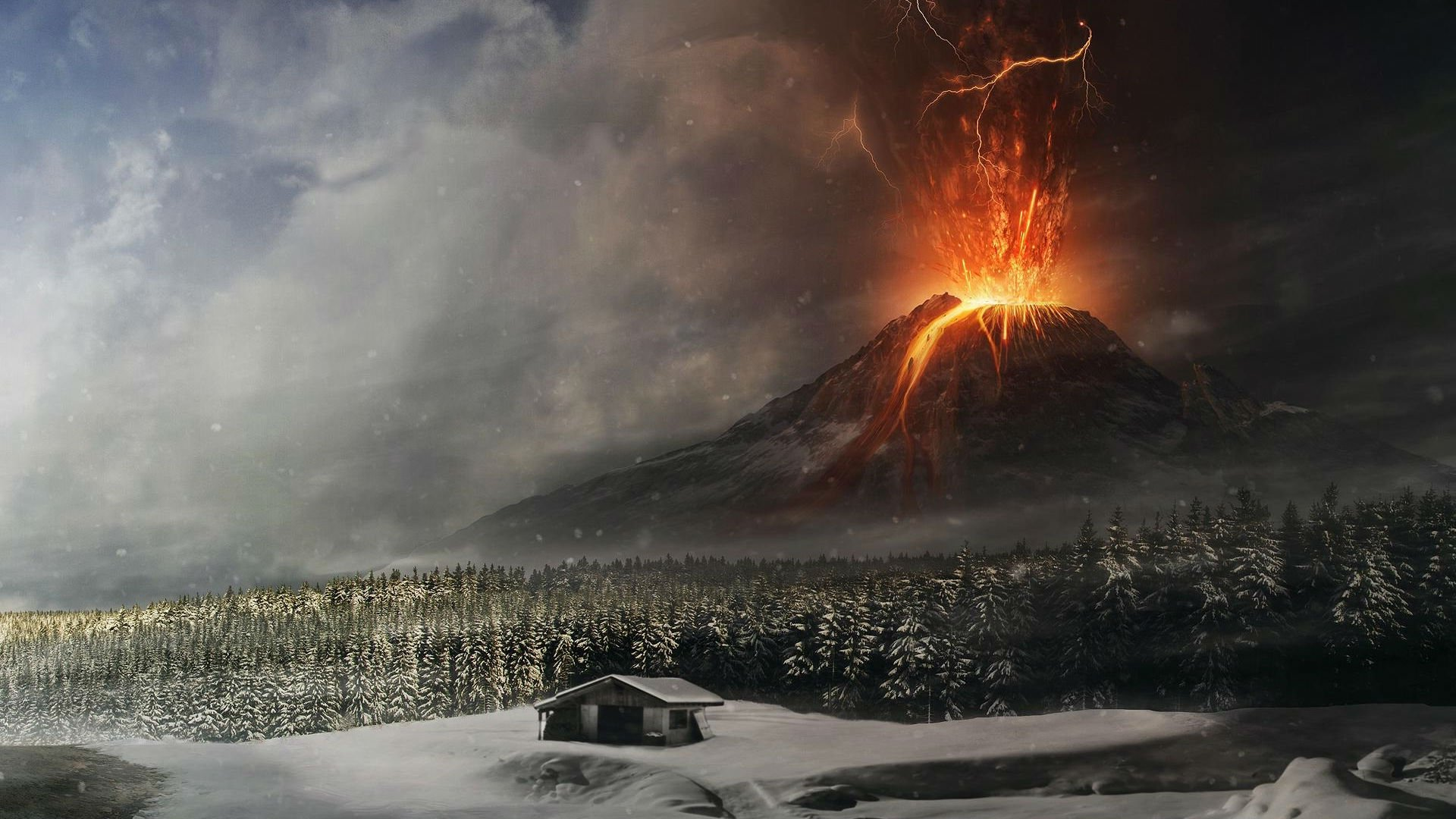Volcano mountain lava nature landscape mountains fire artwork ...